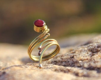 Magical Brass Ring with Gemstone