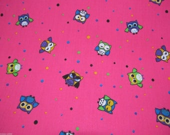 Owls Polycotton Fabric Dress/Craft Fabric