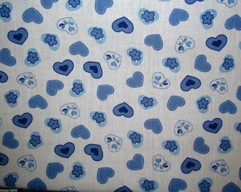 Blue Hearts Polycotton Fabric Dress/Craft Fabric