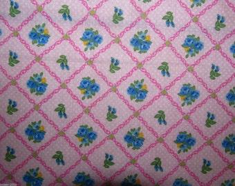 Pink Floral Trellis - Polycotton Fabric Dress/Craft Fabric