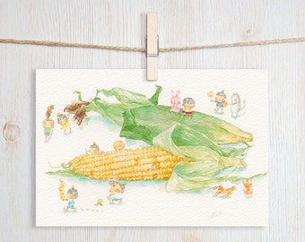 Corn Art Postcard