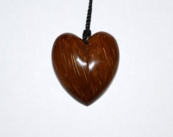 Hand-carved Wooden Heart Necklace