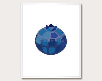 Blue Nursery Printable. Fruit Print. Blue Wall Art. Blueberry Print. Fruit Printable. Modern Print. Instant Download