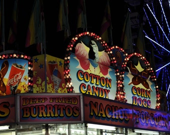 Carnival food cart, ferris wheel, photograph, summertime fun