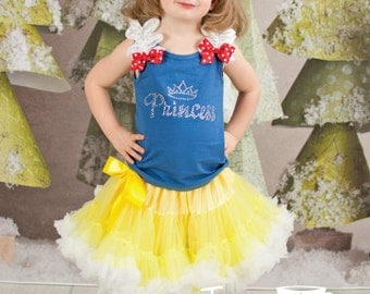 Snow White Inspired Rhinestone Princess Pettiskirt Set With Crown, Halloween Costume, Little Girl, Toddler, Big Girl