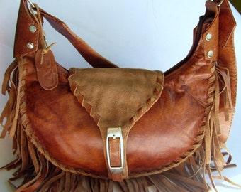 Leather bag, Handmade  Leather fringe bag, Leather suede bag, Handbag, Brown  bag, Gift For Mam, Gift For Her, Gift Valentines Day, Boho,