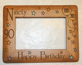 Personalized Photo Frame, Engraved Wood Frame, Birthday Gift, Birthday Frame, Personalized Birthday Gift, Custom Birthday Gift,  4x6 Frame