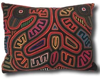 Snake Mola Throw Pillow