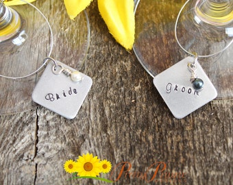 Wine Glass Charms - Bride and Groom Personalized Wine Charms - Hand Stamped Wine Charms - Wedding Favors for Guests or Couple