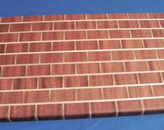 Mahogany with Maple Brick Wall Cutting Board