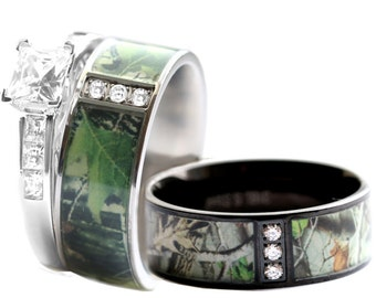 Camo Wedding Ring Set for Him and Her, Stainless Steel, Silver, Black IP, Rhodium Plating