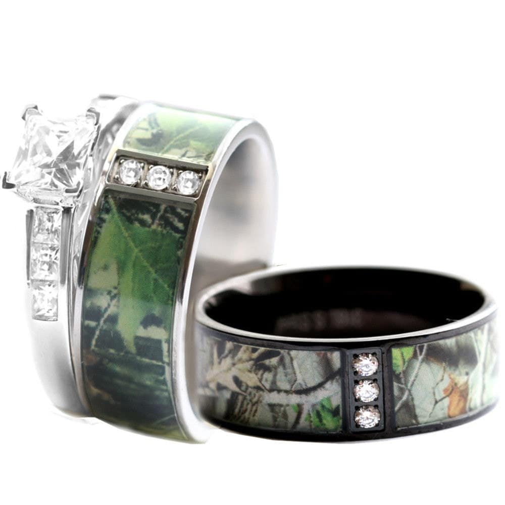 camo wedding ring set for him and her stainless steel silver black ip - Camo Wedding Rings For Him