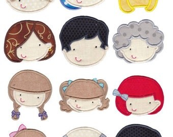 Faces Applique Machine Embroidery Designs 4x4 5x7 6x10