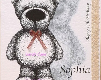 Personalised Cute Teddy Bear Card - for him or her. Ideal for Birthdays + many more occasions.
