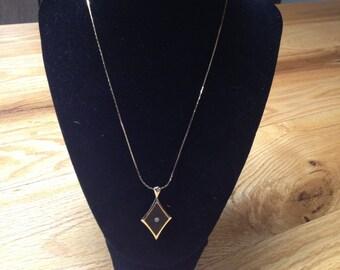 Vintage Goldtone Necklace With Black Enameled and White Gemstone Pendant, Length 18''