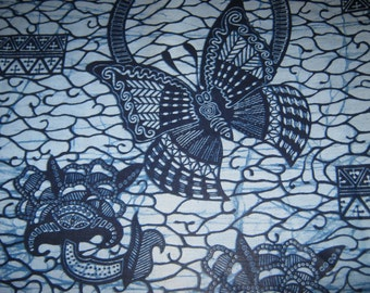 1/2 Yard Cut - Indigo Cotton Fabric - Ghana Africa