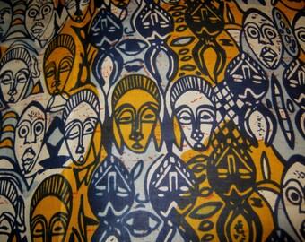 1/2 Yard Cut- African Mask Print - Cotton Fabric