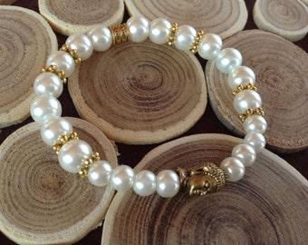 Buddha Bracelet,Buddhist Prayer,Pearl Bracelet,Meditation Bracelet,European Bracelet,Ivory Pearl,Relaxation Bracelet,Healing Bracelet Mom