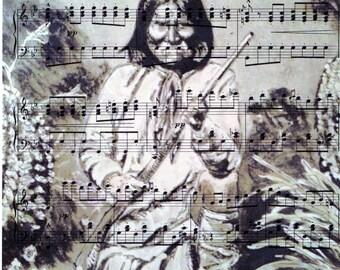 Geronimo watercolour print on Original Vintage Sheet Music, Original and Unique