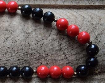 Vintage Black & Red Bauble Necklace