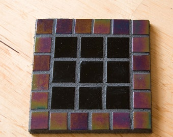 Handmade mosaic coaster black and purple