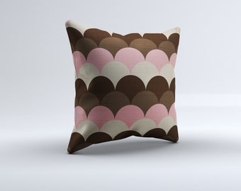 pink and brown throw pillow, modern throw pillow, pink throw pillow, decorative pillow, 16x16, 18x18, 20x20,14x14 modern throw pillow