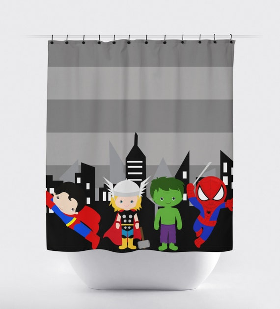 Unavailable listing on etsy for Superhero shower curtain