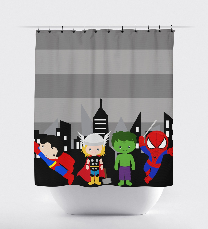 Superhero shower curtain super hero shower by printartshoppe