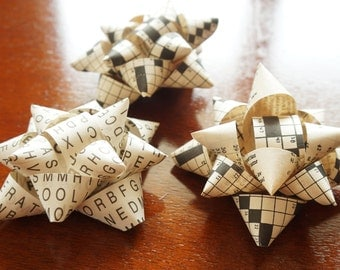 Package Bows, Gift Bows - Self Stick - Set of 3 - Made with Vintage Crossword and Word Search Puzzles - Christmas, Birthday