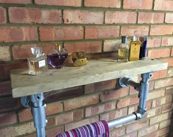 Scaffold Shelving urban Industrial Galvanised Pipe Shelf with Rail