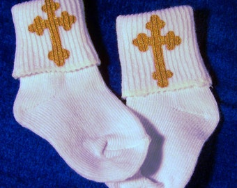 Baptisms Socks with Hand-Painted Cross