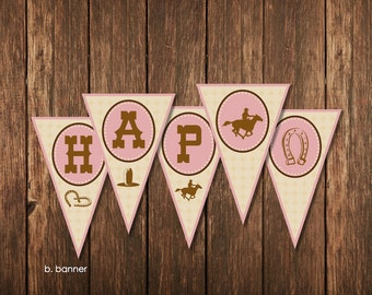 Cowgirl Theme Birthday Party - Personalized Banner Printable
