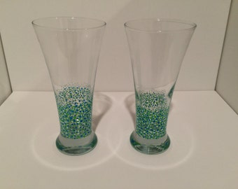 Hand-painted, Fade Dot Pilsner Glasses (Set of 2)
