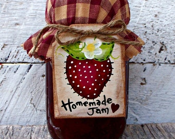 Homemade Jam Label, Canning Jar Labels, Wood Mason Jar Tag, Strawberry Decor, Country Kitchen