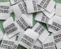 100 Professional Garment Size Labels, One Size Fits All