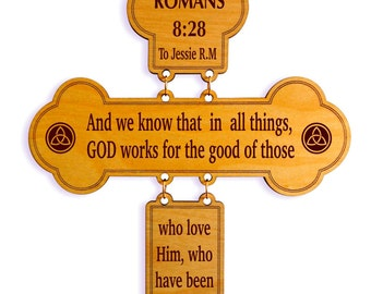 Custom Favorite Bible Verse Wall Accent, Romans 8:28 Decorative Wood Wall Cross, Christian Home Decor, Spiritual and Inspirational Decor.