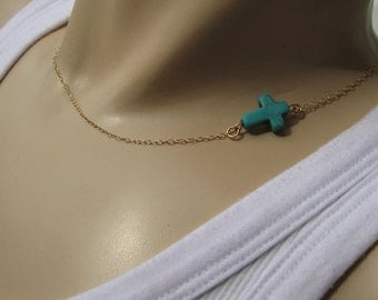 """Turquoise Sideways Cross Necklace, Side Cross Necklace, 14k Gold Fill or 925 Sterling Silver, Layering Necklace, """"Amorgos"""" Necklace"""