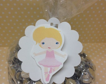 Ballerina Party Favor or Candy Bags With Tags - set of 10