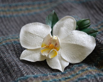 Wedding bridal Phalaenopsis Orchid hair accessory clip barrette. White orchid. Pin Clip orchid.Flower pin. Jewelry orchids.
