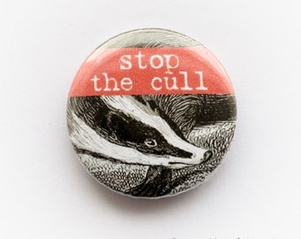 Anti-badger cull button badge (25mm)