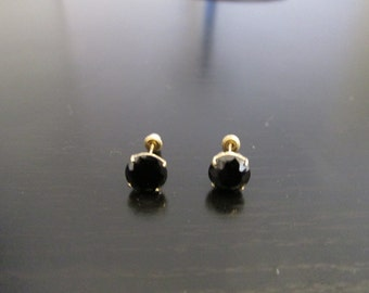 14K Solid Yellow Gold Black CZ Stud Earrings