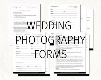 Photography wedding contract - wedding photography contract package - wedding photography forms. Editable photography logo on first pages