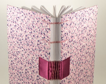 A5 Purple Floral / Blank Notebook / Hard Cover / Hand Bound / Coptic - French Link Stitch / Dairy
