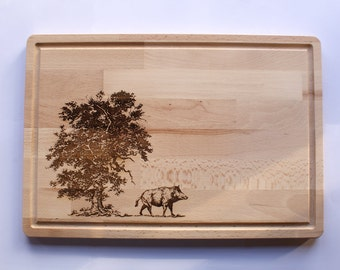 Wooden Cutting Board, Wild Boar Engraving, Wildlife Collection