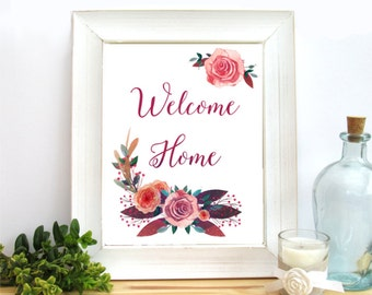 Welcome Home Sign, Printable Art, 8x10 Welcome Print, Floral Decor, Watercolor Flowers