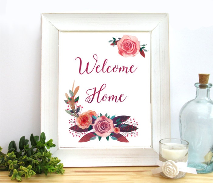Printable Welcome Home Sign: Welcome Home Sign Printable Art 8x10 Welcome Print Floral