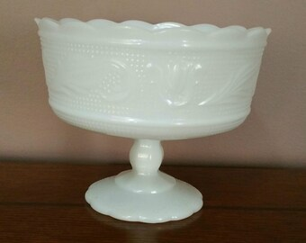 Vintage EO Brody Milk Glass Pedestal Compote Dish, Vintage Milk Glass,