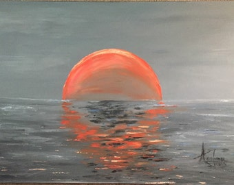 Sunset. Original oil painting