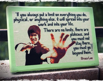 """Wood sign """"Bruce Lee"""", hand-made wall decor. Martial arts. Movie star"""