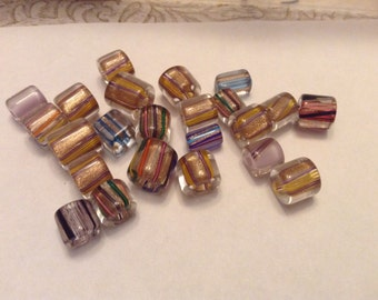 Gold accented Fire Design beads